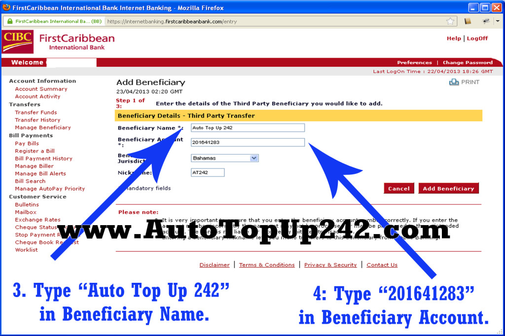 Direct Bank Transfer (CIBC) – AutoTopUp242